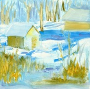 """Snow Day - oil on panel - 8""""x8"""" - $125.00 / Limited Edition giclee prints available """"6x6"""" - $35.00"""