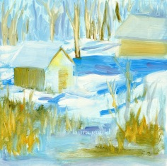 "Snow Day - oil on panel - 8""x8"" - $125.00 / Limited Edition giclee prints available ""6x6"" - $35.00"