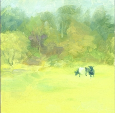 "2 Cows - 6""x6"" - oil on panel $50.00 / signed print $20.00"