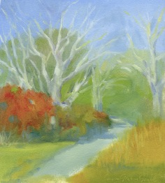 "Shady Lane - oil on paper - 8""x9"" - $35.00"