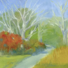 """Shady Lane - oil on paper - 8""""x9"""" - $35.00"""